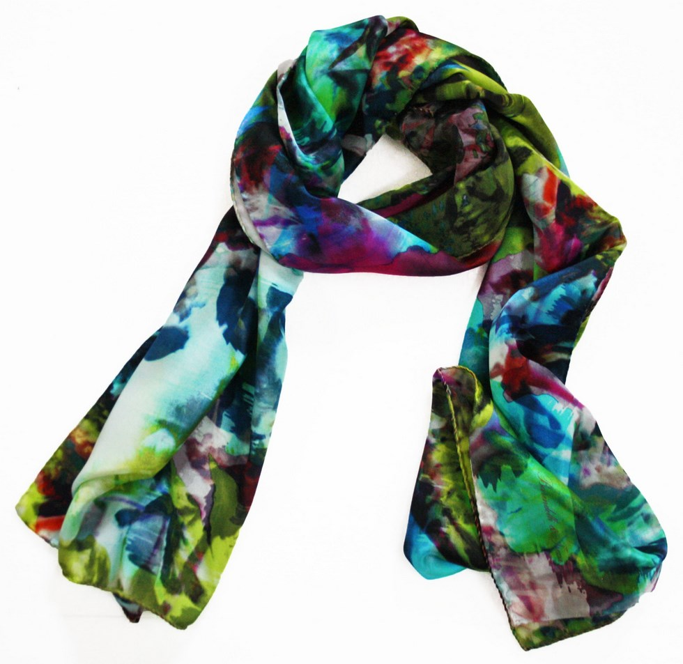 Silk scarf patterned woman Nature green and blue