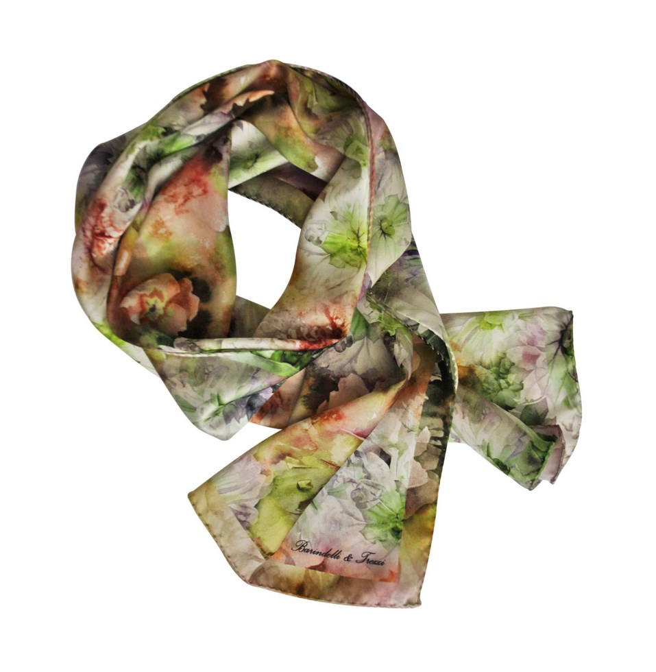 Scarf floral print silk for women - white and green flowers