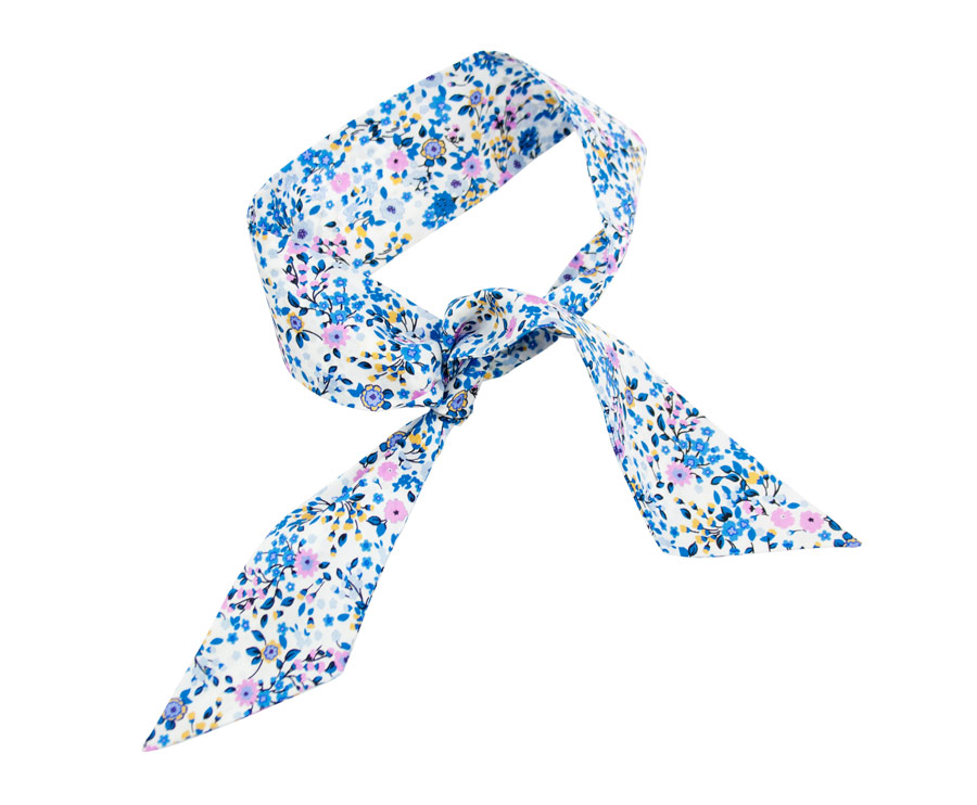 Hair bow with silk flower print